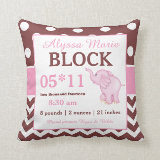 Brown Pink Elephant Baby Announcement Pillow