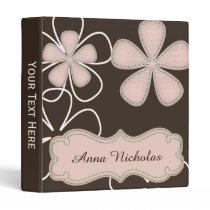 brown pink floral cute mod binder
