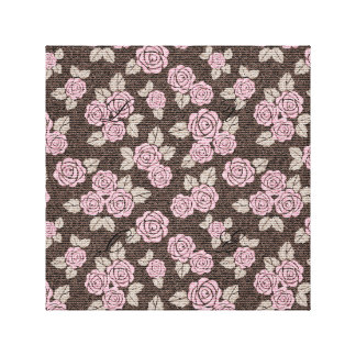 Brown,pink,floral,pattern,modern,cute,girly,trendy Canvas Print