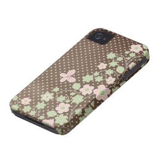 Brown pink floral pattern stylish blackberry bold Case-Mate iPhone 4 case