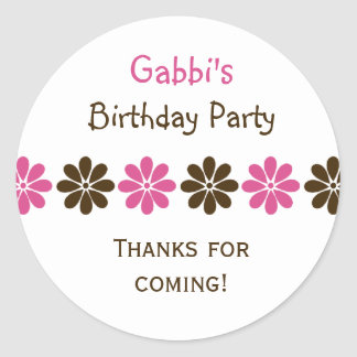 Brown Pink Flower Birthday Party Favor Stickers
