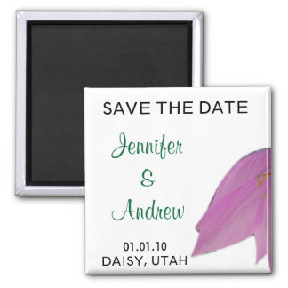 Brown & Pink Flower Save the Date Magnet
