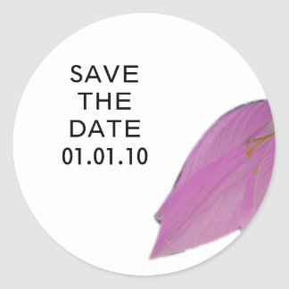 Brown & Pink Flower Save the Date Sticker