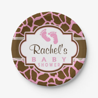 Brown, Pink Giraffe Animal Print Baby Shower 7 Inch Paper Plate