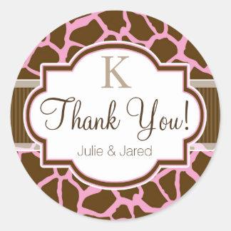 Brown, Pink Giraffe Animal Print Thank You Classic Round Sticker