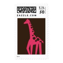 Brown & Pink Giraffe Birthday Postage