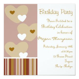 Brown & Pink Heart Design Birthday Invitation