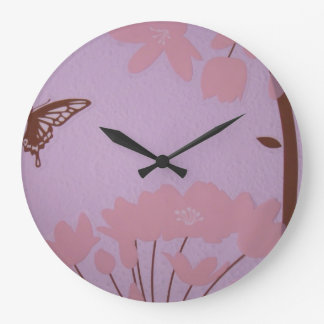 Brown Pink Lavender Deco Baby's room clock Flowers