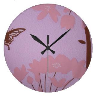 Brown Pink Lavender Deco Baby's room clock Flowers