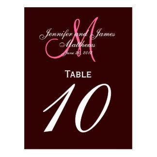 Brown Pink Monogram Wedding Table Number Cards