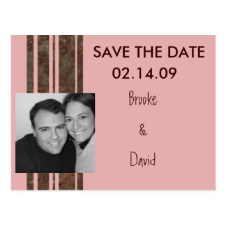 Brown & Pink Photo Save the Date Postcard
