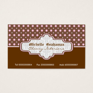 Brown pink polka dot interiors business cards