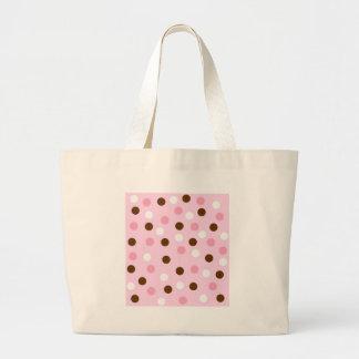 Brown & Pink Polka Dots Canvas Bags