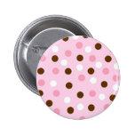 Brown & Pink Polka Dots Button