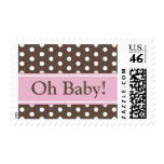 Brown pink polka dots girls Oh Baby shower stamp