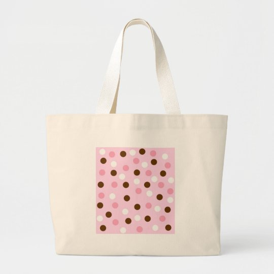 Brown & Pink Polka Dots Large Tote Bag