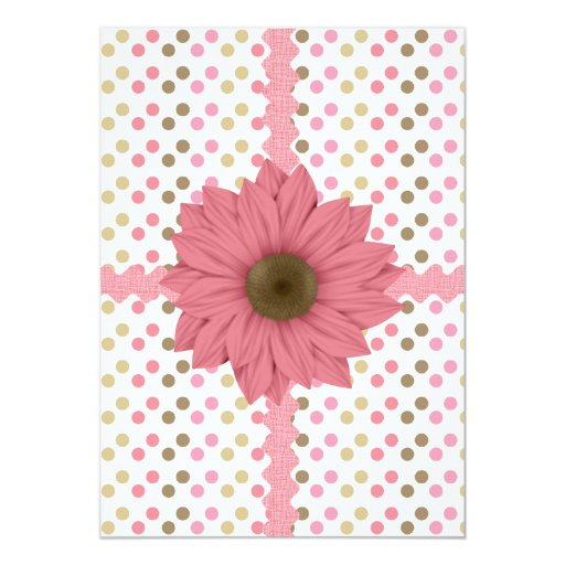 Brown & Pink Polka Dots Personalized Invitations