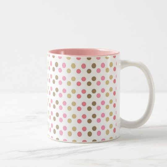 Brown & Pink Polka Dots Two-Tone Coffee Mug