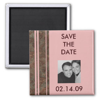 Brown & Pink Stripe Save the Date Photo Magnet