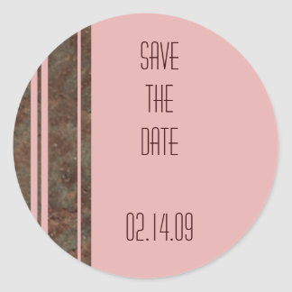 Brown & Pink Stripe Save the Date Sticker