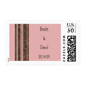 Brown & Pink Stripe Wedding Stamp