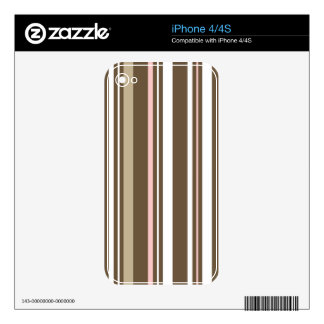 Brown & Pink Striped iPhone 4 Cover Skins For The iPhone 4S