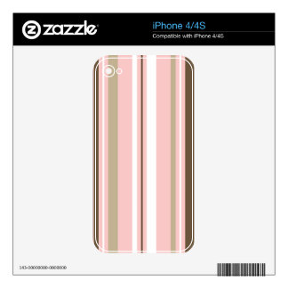 Brown & Pink Striped iPhone 4 Cover Decals For The iPhone 4