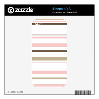 Brown & Pink Striped iPhone 4 Cover iPhone 4 Skins