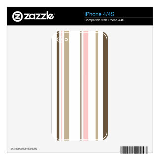 Brown & Pink Striped iPhone 4 Cover iPhone 4S Decals