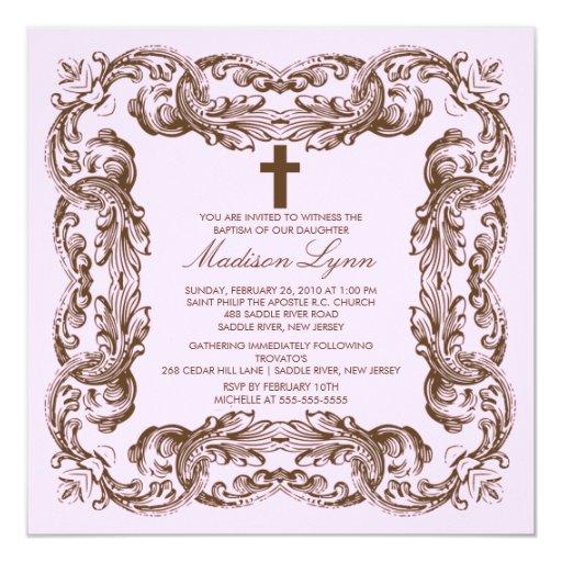 Brown & Pink Vintage Frame Baptism Invitation