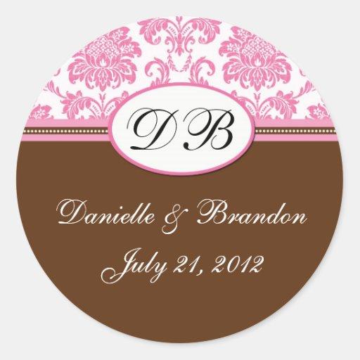 Brown Pink Wedding Monogram Damask Seal Classic Round Sticker