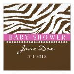 Brown & Pink Zebra Baby Shower Invitations