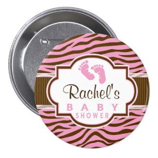 Brown, Pink Zebra Stripes Animal Print Baby Shower Pinback Button