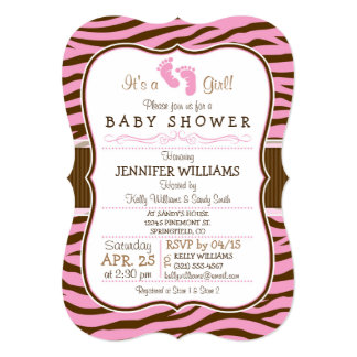 Brown, Pink Zebra Stripes Animal Print Baby Shower Card