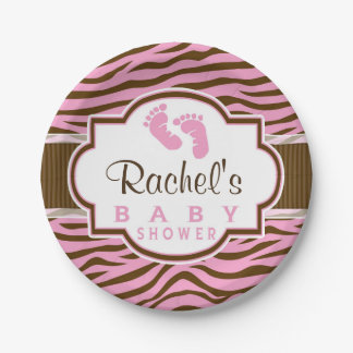 Brown, Pink Zebra Stripes Animal Print Baby Shower Paper Plate