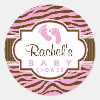 Brown, Pink Zebra Stripes Animal Print Baby Shower Round Stickers