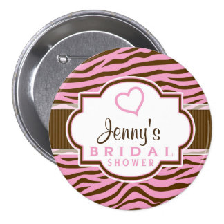 Brown, Pink Zebra Stripes;  Bridal Shower Pinback Buttons
