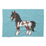 Brown Pinto Cartoon Gypsy Vanner Shire Clydesdale Hand Towels
