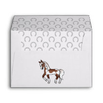 Brown Pinto Cartoon Trotting Horse Illustration Envelope