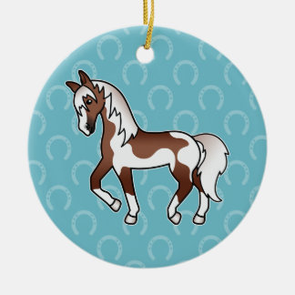 Brown Pinto Trotting Cartoon Horse Ceramic Ornament