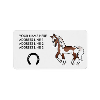 Brown Pinto Trotting Cartoon Horse Label