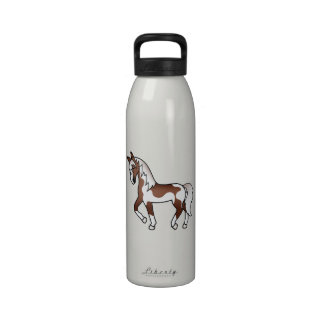 Brown Pinto Trotting Cartoon Horse Drinking Bottles
