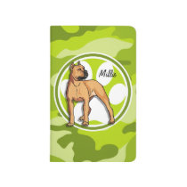 Brown Pit Bull; bright green camo, camouflage Journal
