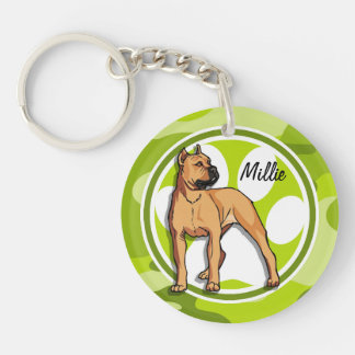 Brown Pit Bull; bright green camo, camouflage Double-Sided Round Acrylic Keychain