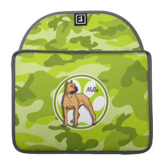 Brown Pit Bull; bright green camo, camouflage Sleeve For MacBooks