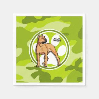 Brown Pit Bull; bright green camo, camouflage Napkin