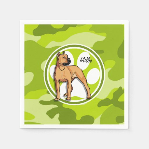 Brown Pit Bull; bright green camo, camouflage Disposable Napkins
