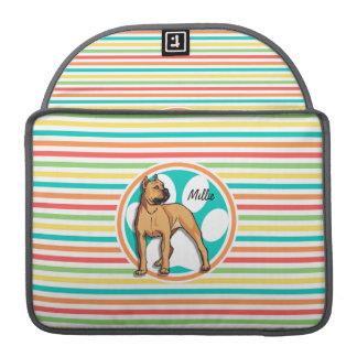 Brown Pit bull; Bright Rainbow Stripes MacBook Pro Sleeve