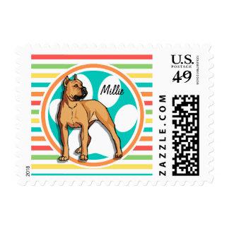 Brown Pit bull; Bright Rainbow Stripes Stamp