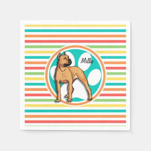 Brown Pit bull; Bright Rainbow Stripes Disposable Napkin